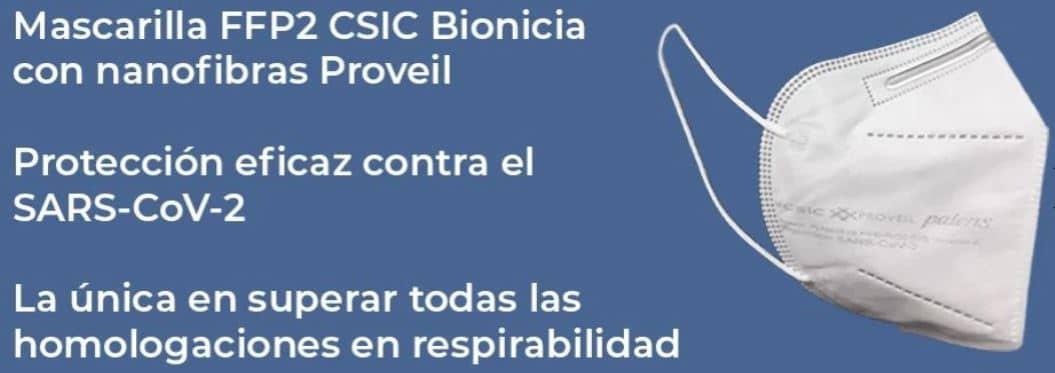 Mascarilla contra la Covid-19 fabricada en España por CSIC y Bioinicia